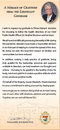 Screen capture of Message of Gratitude from Her Honour