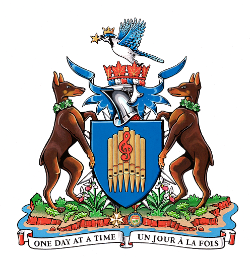 Her Honour Antoinette Perry's personal coat of arms. It shows the text 'One day at a time / Un jour à la fois'